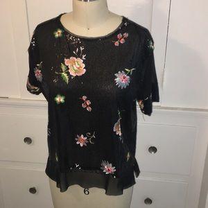 Zara EUC Sequin Floral Blouse